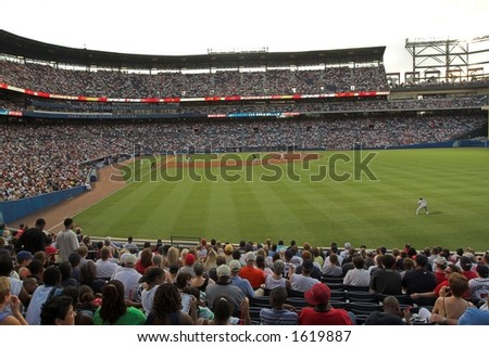 A record crowd of over 53,000 people fill Turner Field, in Atlanta, Georgia - stock photo