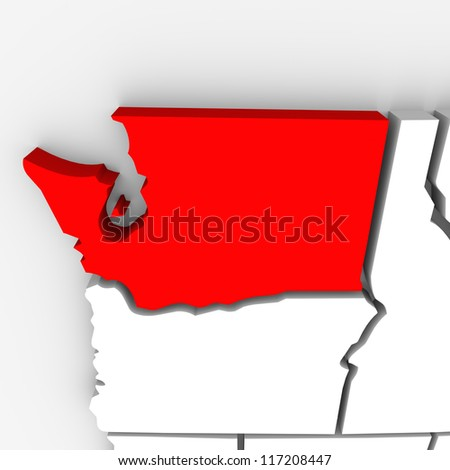 A red abstract state map of Washington, a 3D render symbolizing targeting the state to find its outlines and borders - stock photo
