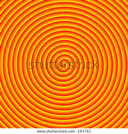 A red and orange spiral design. - stock photo