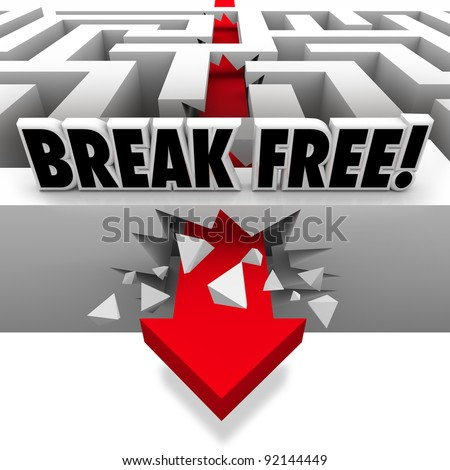 A red arrow crashes through the walls of a maze to freedom with the words Break Free above the labyrinth - stock photo