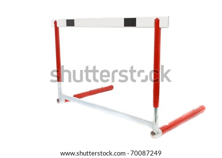 A red athletics hurdle, isolated on a white background. - stock photo