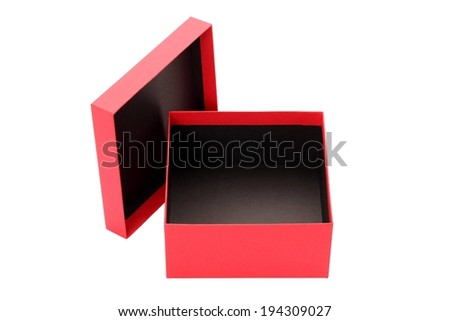 A red box with the lid taken off. - stock photo