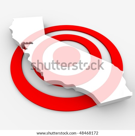 A red bulls-eye with a map of California state on it - stock photo