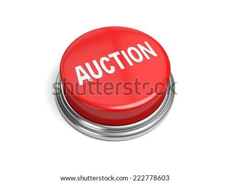A red button with the word auction on it - stock photo