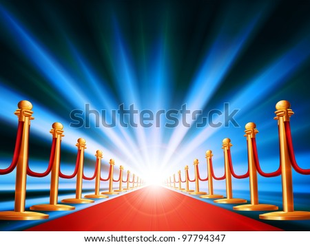 A red carpet leading to somewhere exciting with bright light and abstract background - stock photo