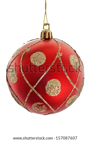A red christmas ball with golden ornaments isolated on white background - stock photo