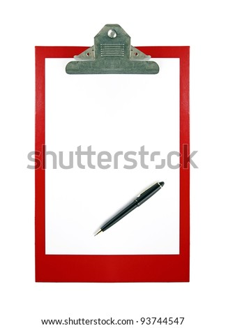 A red color paper clipboard with a sheet of blank white paper with space for text and a vintage ball point pen, isolated against white. - stock photo