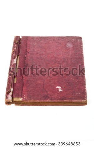A red cover vintage(old) book, 15th century, in the korea. Principles and Practice of Eastern Medicine. Donguibogam isolated white. - stock photo