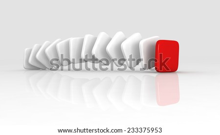 A red cube placed observably in a group of white cubes. - stock photo