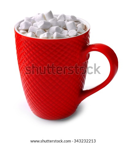 A red cup of cocoa and marshmallow, isolated on white - stock photo
