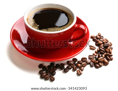 A red cup of tasty drink and scattered coffee grains, isolated on white - stock photo