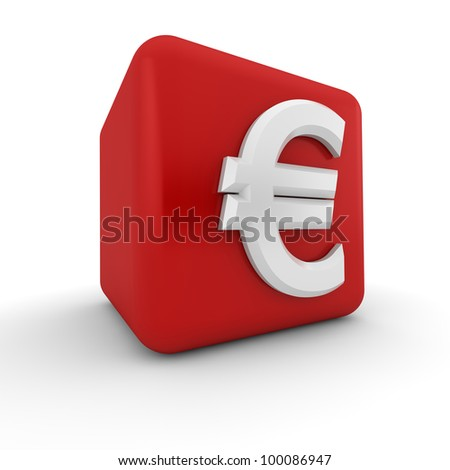 A red 3D block with the white euro currency symbol - stock photo