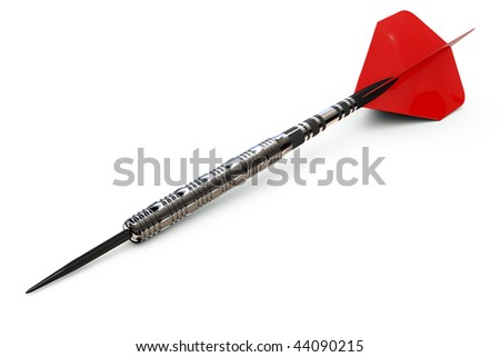A red dart isolated on white including a clipping path - stock photo
