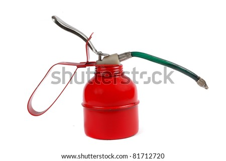 a red engine oil spray container isolated on white background - stock photo