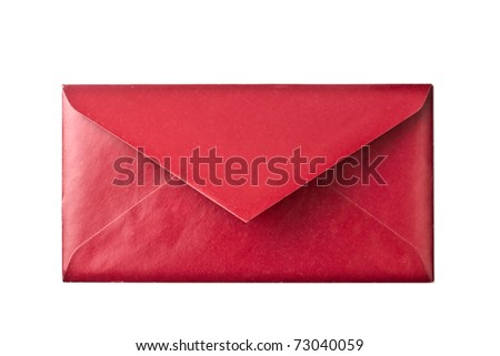 A red envelope isolated on white background - stock photo
