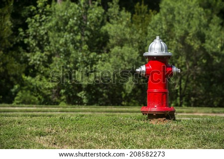 A red fire hydrant at a local park - stock photo