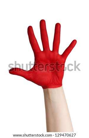 a red hand grabbing after something, isolated - stock photo