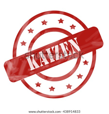A red ink weathered roughed up circles and stars stamp design with the word Kaizen on it making a great concept. - stock photo