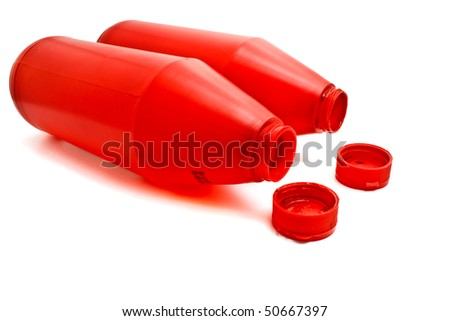 a red ketchup bottles - stock photo