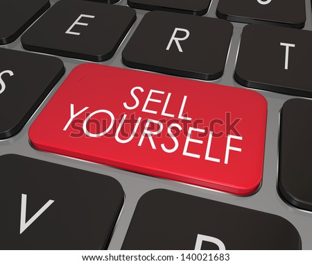 A red key on a modern computer laptop keyboard with words Sell Yourself giving advice on how to promote or advertise your abilities, skills and qualifications for a job or career - stock photo
