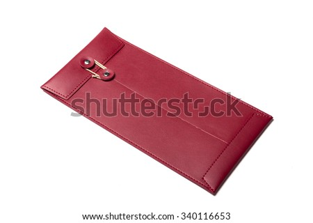 A red leather envelope for luxury, important(critical) paper isolated white. closeup. - stock photo