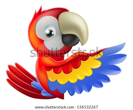 A red macaw parrot leaning round a sign or banner and pointing his wing at what is written on it - stock photo
