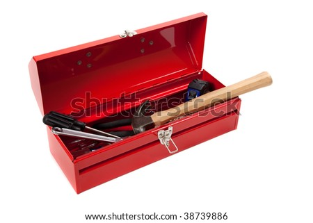 A red metal toolbox with tools on a white background - stock photo