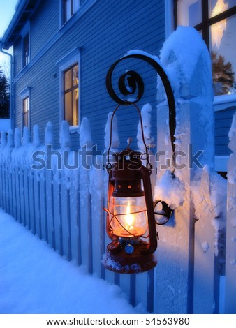 A red oil lamp in christmas time - stock photo