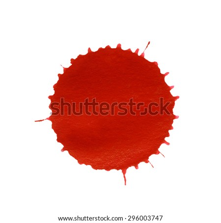 a red paint splatter in white back - stock photo