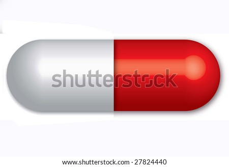 A red pill isolated on a white background - stock photo