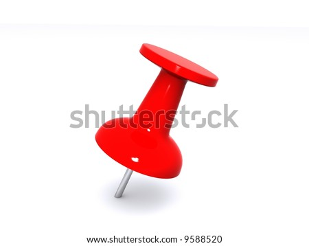 A red push pin for holding paper on a bulletin board. - stock photo