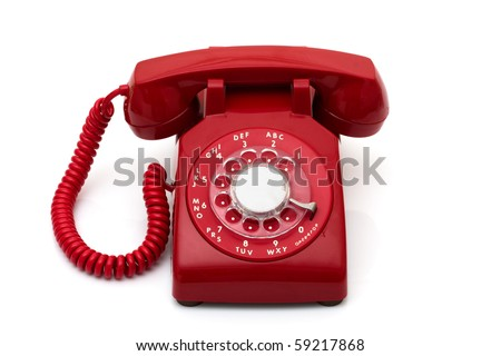 A red retro telephone isolated on white, Call for help - stock photo