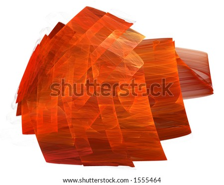 A red, rippled, ribbon-like, three dimentional form isolated on a white background. - stock photo