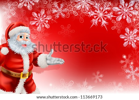 A red Santa Christmas snowflake background with very detailed illustration of Santa Clause and beautifully depicted transparent snowflakes. - stock photo