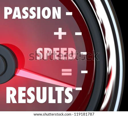 A red speedometer with the saving Passion plus Speed equals Results in words to symbolize achieving a goal with an ambitious attitude and driven mission - stock photo