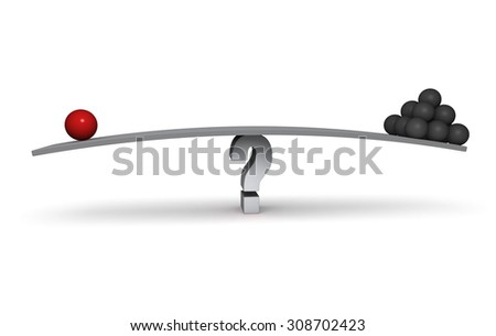 A red sphere and a stack of dark gray spheres sit on opposite ends of a gray board balanced on a gray question mark. Isolated on white. - stock photo