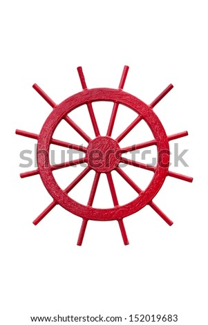 A Red Steering Wheel of a Ship Isolated on White Background - stock photo