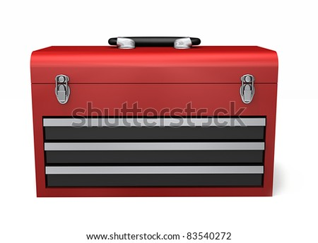 A red three drawer toolbox isolated on a white background - stock photo