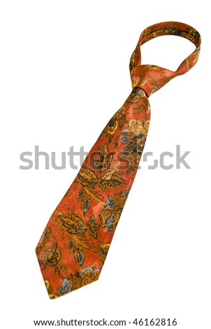 A red tie with colorful ornaments isolated on white background - stock photo