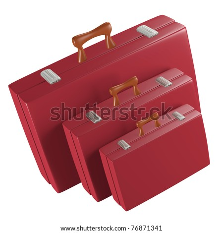 a red travel bags on white - stock photo