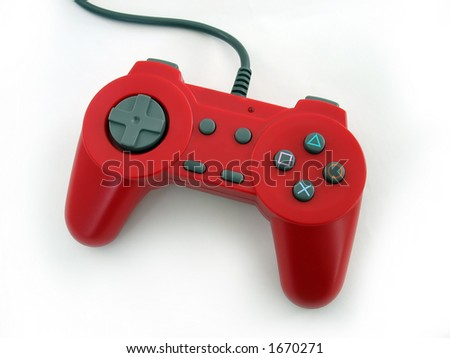 a red video game controller isolated over a white background - stock photo