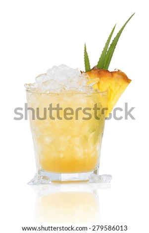 A refreshing cocktail with pineapple in a glass with ice - stock photo