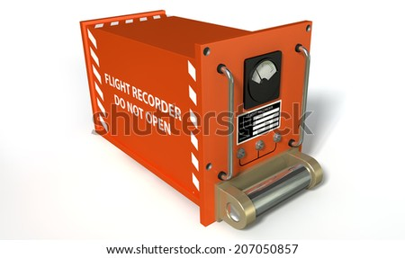 A regular aviation flight recorder black box painted in orange on an isolated white studio background - stock photo