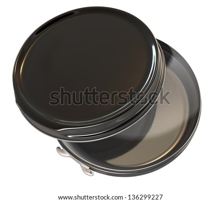 A regular disk shaped black metal tin open on an isolated background - stock photo