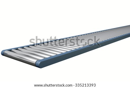 A regular empty roller conveyor on an isolated white studio background - stock photo