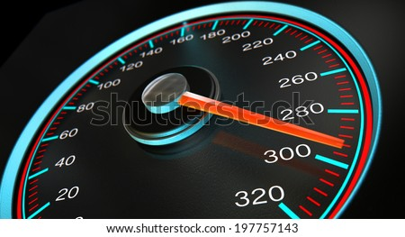 A regular speedometer with glowing blue and red markings with a red needle pointing towards a high speed on an isolated black background - stock photo