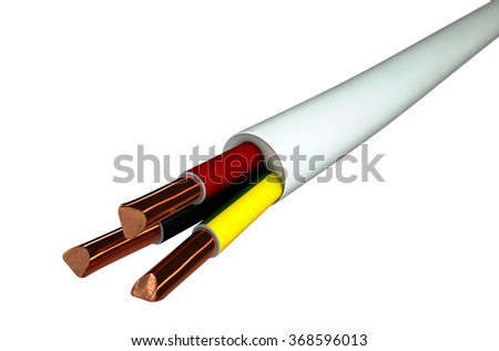 A regular three core insulated electrical cable with the copper wire cut and exposed on an isolated white studio background - stock photo