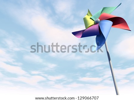 A regular toy pinwheel windmill with five differently colored vanes on a stick on a blue sky and cloud background - stock photo
