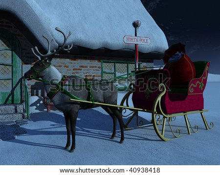 A reindeer with sleigh waiting outside Santa Claus' house a starry night. There is a big bag of christmas presents in the sleigh. - stock photo