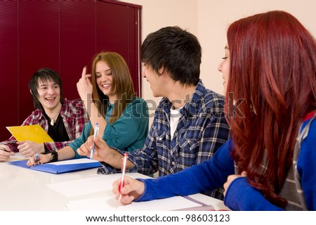 A relaxed, fun atmosphere inside the classroom - stock photo
